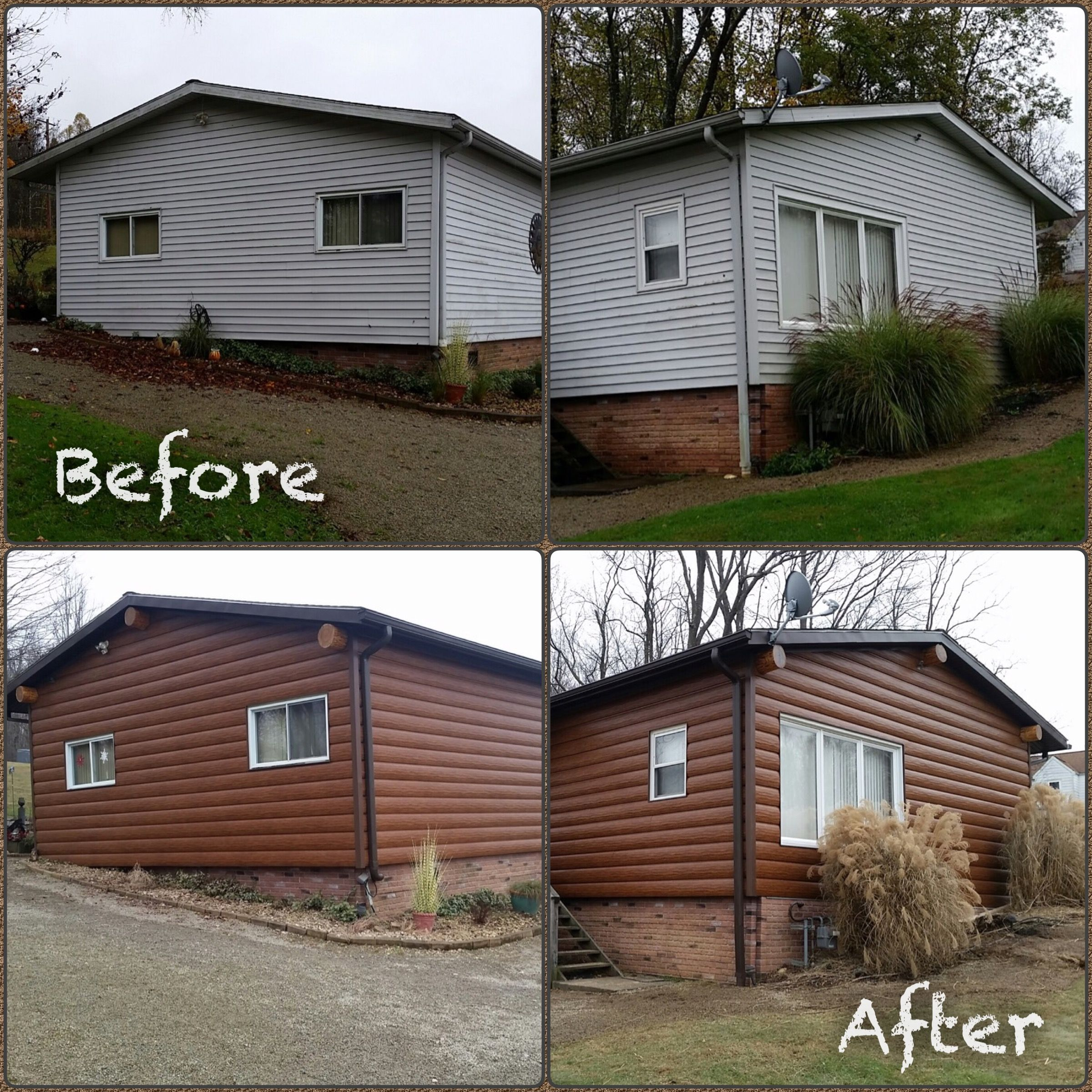 Before And After Pictures Of Red Cedar Trulog Siding Log Cabin Remodel Remodel Log Siding