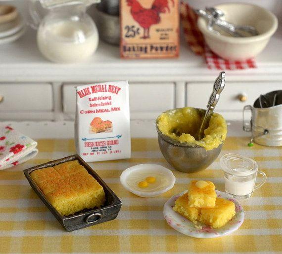 Miniature Making Cornbread Set by CuteinMiniature on Etsy