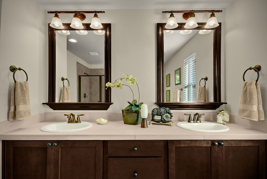 Toll Brothers Dual Vanities Framed Mirrors And Oil Rubbed