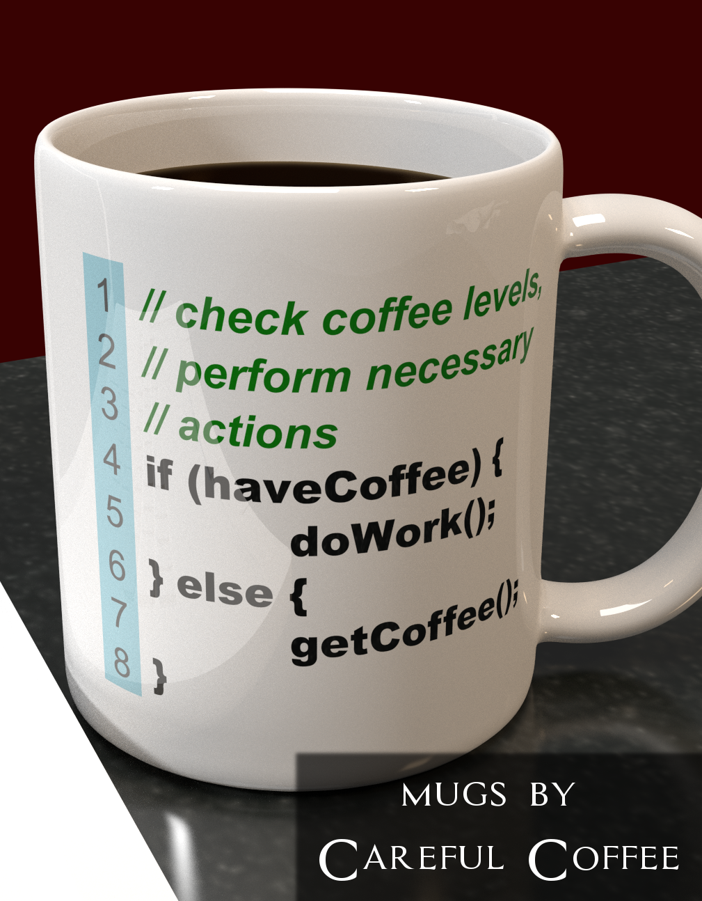 A funny coffee mug perfect for developers, webdesigners