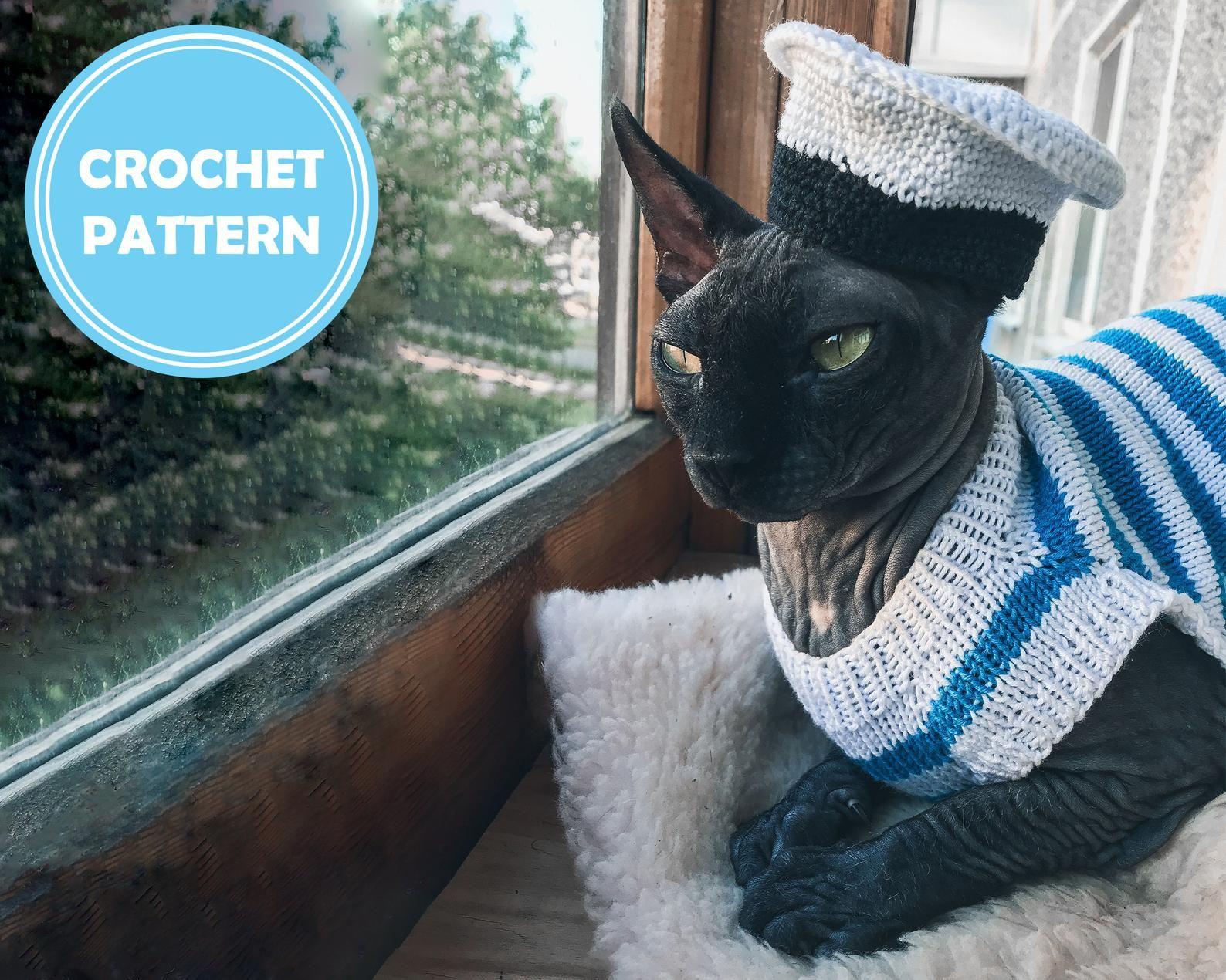Cat Sailor Hat Crochet Pattern Pdf Small Sailor Hat Accessory For Sphynx In 2021 Crochet Hat Pattern Crochet Hats Cat Sweater Knitting Pattern