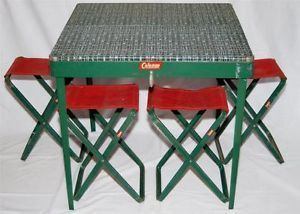 Original Vintage Coleman Metal Folding Camping Table With Stools Chairs Set