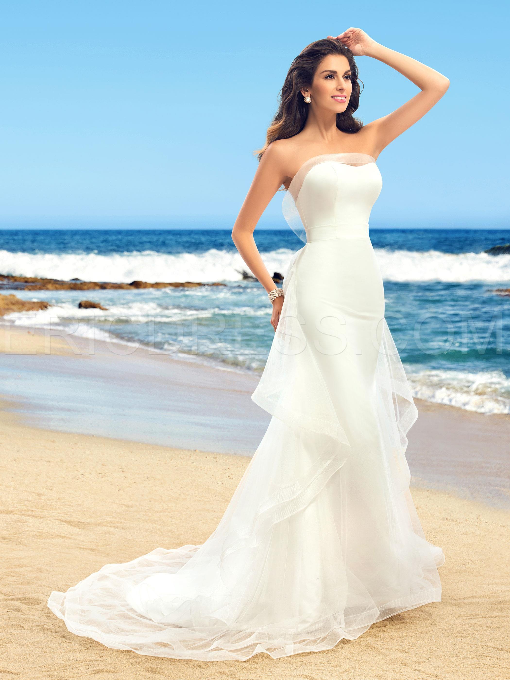 Fantastic Strapless Ruffles Sleeveless Mermaid Wedding Dress ...
