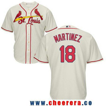 Men's St. Louis Cardinals #18 Carlos Martinez Cream Stitched MLB Majestic Cool Base Jersey