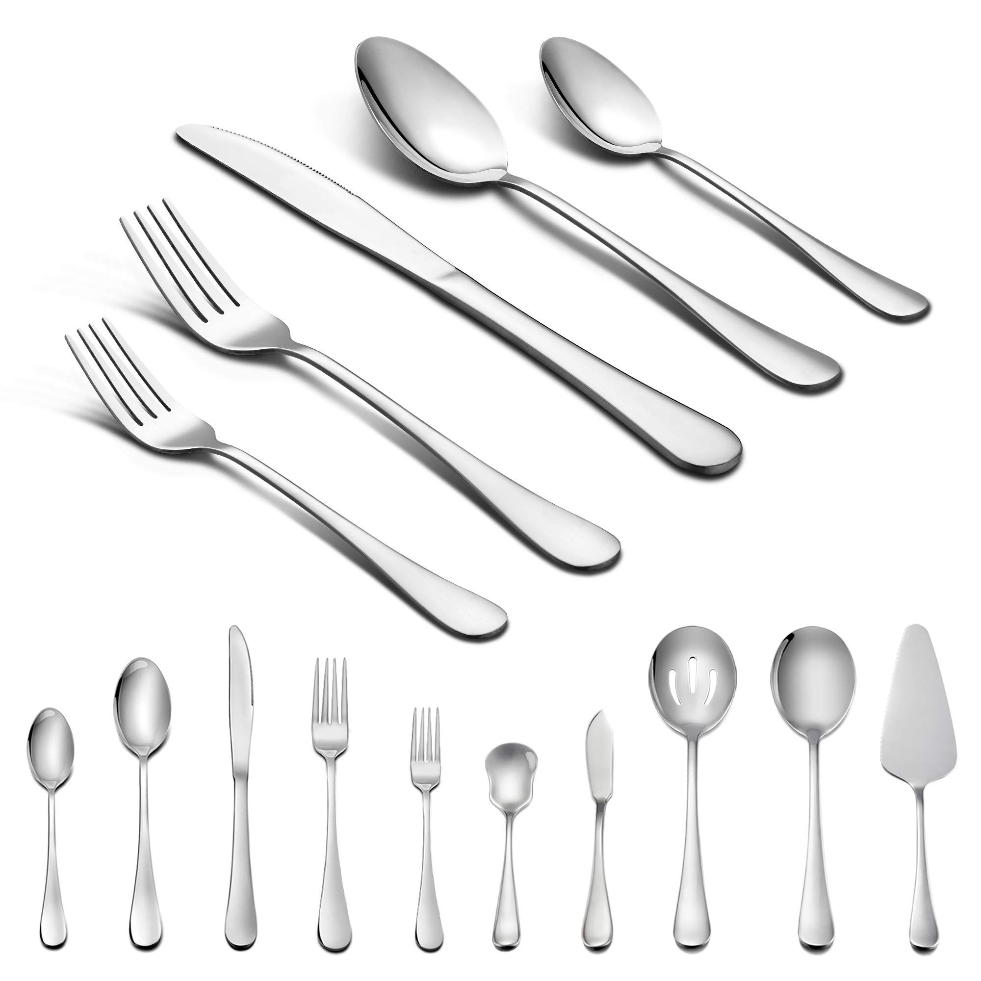 45piece Silverware Set With Serving Pieces Lianyu Flatware Set Service For 8 Stainless Steel Cutlery For Ki Silverware Set Stainless Steel Cutlery Flatware Set