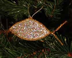 Pipe Cleaner, plastic wrap, glitter and gold or silver cord for hanging.  Jesus fish craft