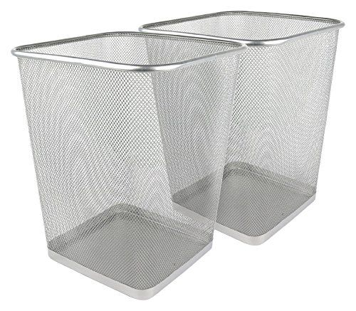 Greenco Mesh Wastebasket Trash Can, Square, 6 Gallon, Silver, 2 Pack ...