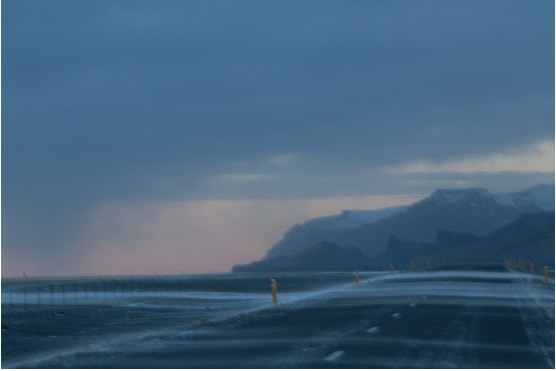Storm at sunset, southern #iceland. Deep blues and grayed-out pink skies.