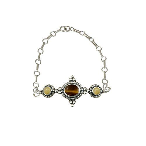 Sterling Bracelet With Adjustable Chain Tiger Eye/Yellow Aragonite Other Stones Available American Made >>> Check out this great product.