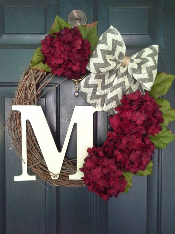 Front Door Wreath Hydrangea Wreath Burlap Wreath Grapevine