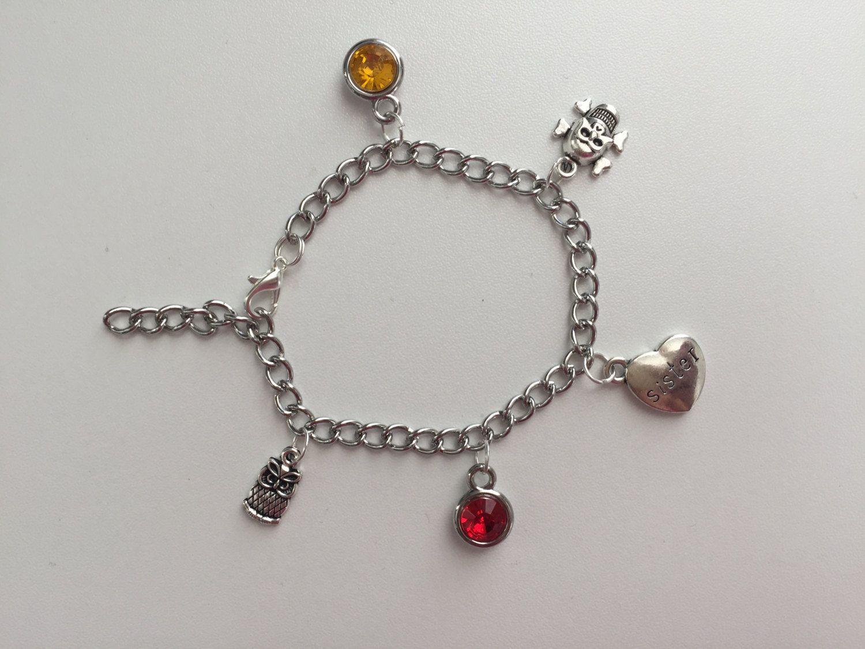 Chi Omega ~ 5 Charm Bracelet ~ Red Crystal ~ Gold Crystal ~ Owl Charm ~