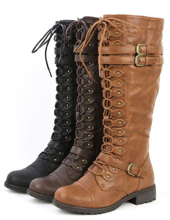 Details about Womens Knee High Lace Up Buckle Fashion Military ...