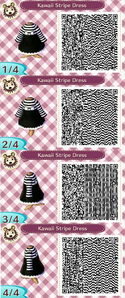 Black and white stripe dress Animal Crossing QR code by Kimmi ... on