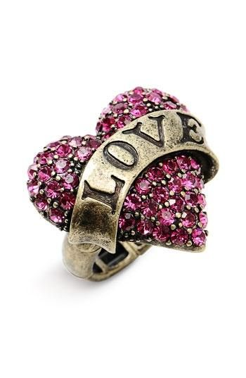 Betsey Johnson 'Lady Luck' Heart Stretch Ring   Nordstrom