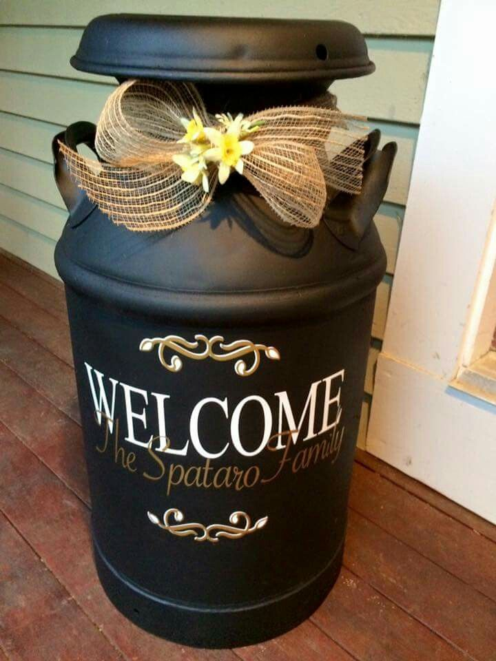 Need To Do This With Mine Milk Can Decor Milk Cans Painted Milk Cans