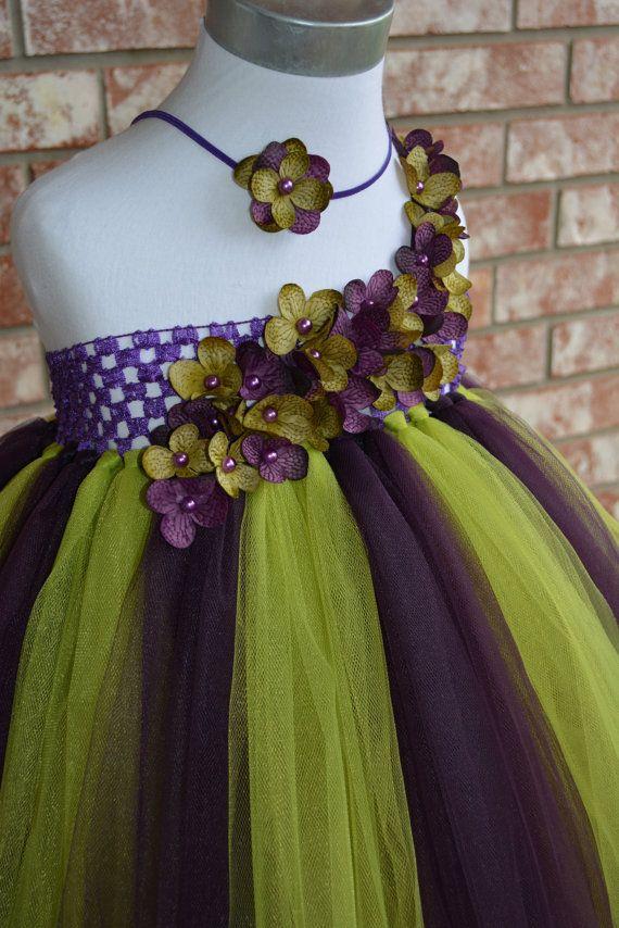 Green /& Purple Tutu with Flower