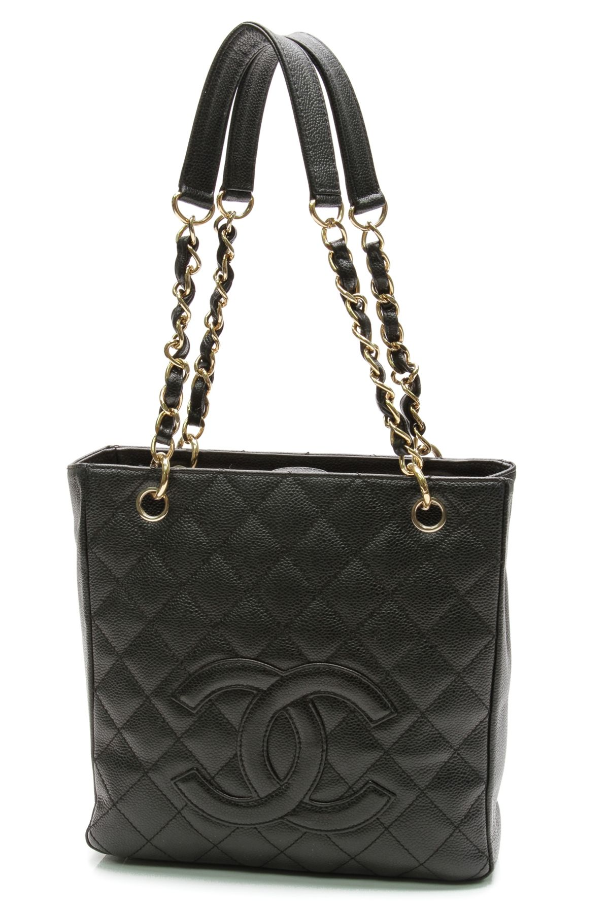 04822154fad4 Chanel Black Quilted Caviar Leather Petite Shopping Tote Bag ...