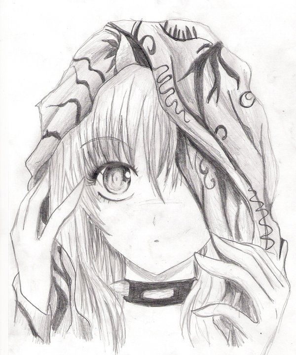 Anime girl pencil sketch she usually has red eyes and red hood vampire red