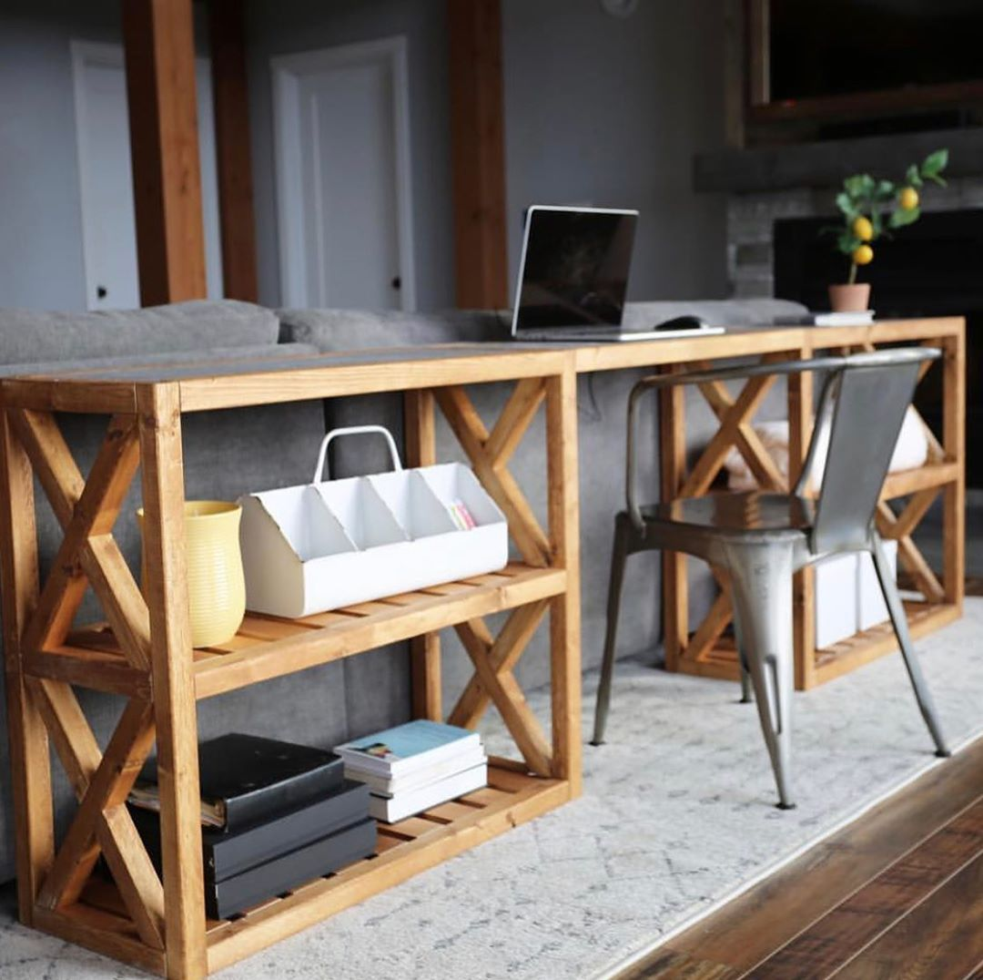 Do You Need A Console That S A Desk Too This I Built Or About 40 To Build Yours Just Google Ana Wh Farmhouse Console Table Living Room Diy Living Room Wood