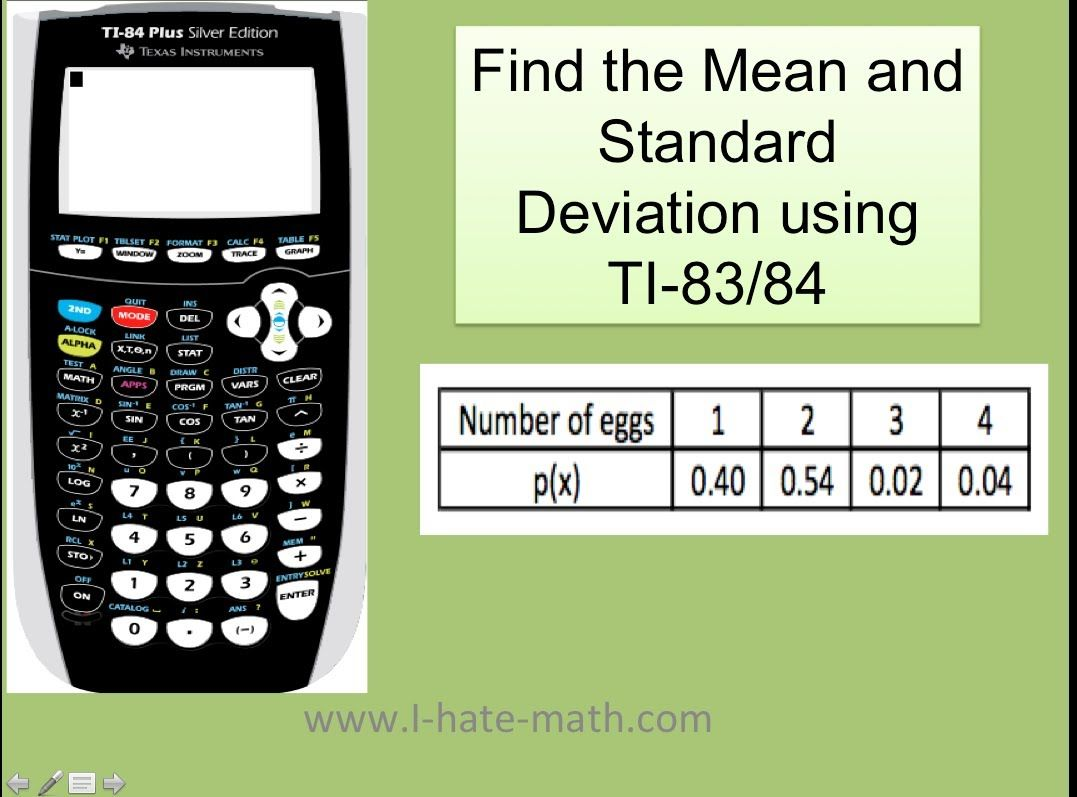 How To Find Mean And Standard Deviation Probability