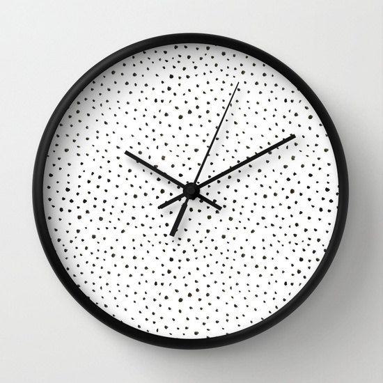 Dalmatian Print Wall Clock Black Polkadot Print Clock Watercolor Dalmatian Print Girls Room Clock Black And White Black Wall Clock Wall Clock Office Wall Clock