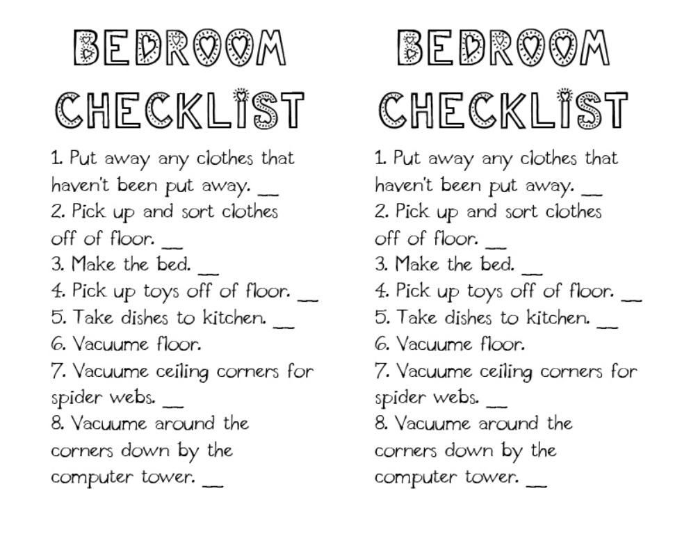 Daily Bedroom Cleaning Checklist  Google Search  Organization