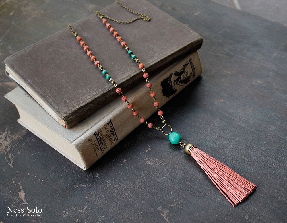 Coral and turquoise necklace Bohemian jewelry turquoise pendant necklace Leather tassel necklace Long boho beaded necklace Boho chic by NessSolo on Etsy https://www.etsy.com/listing/253908083/coral-and-turquoise-necklace-bohemian