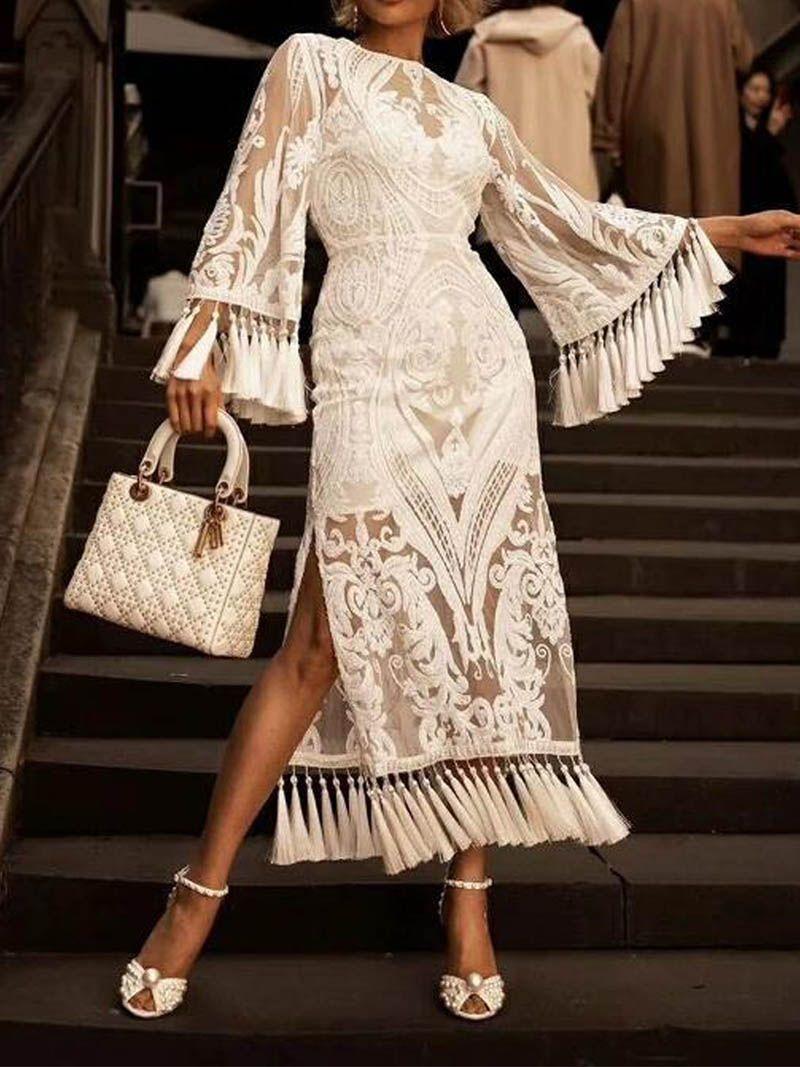 Us 61 87 Elegant Lace Inwrought Tassel Bell Sleeve Maxi Dresses Www Ebuytide Com In 2021 White Lace Dress Long Lace White Dress Lace Dress Long [ 1067 x 800 Pixel ]
