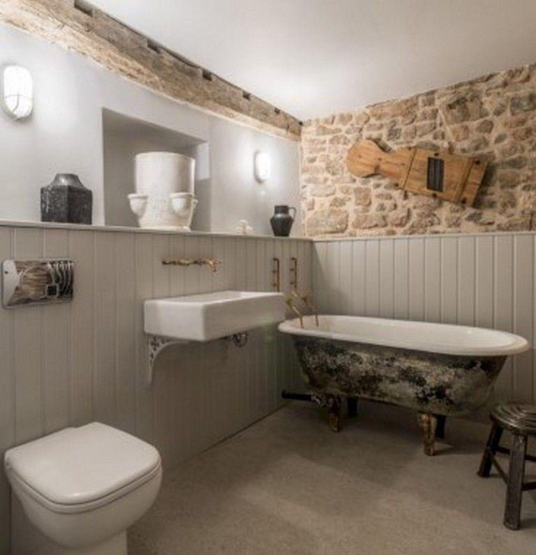 27 Wonderful Bathroom With Stone Wall Ideas Bathroomremodel Bathroomdesign Bathroomideas Bathroom Remodel Designs Bathroom Stone Wall Stone Walls Interior