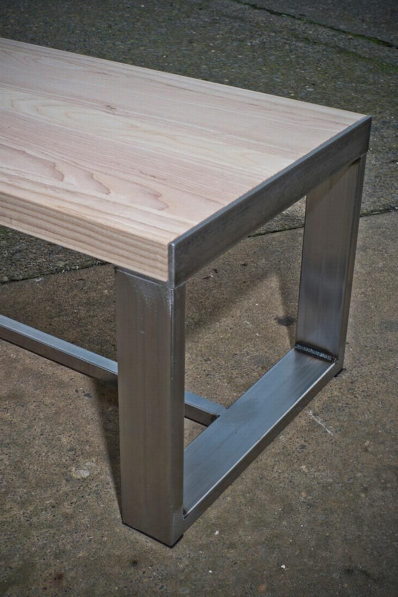 Ash Top Bench With Metal Legs In 2020 Metal Furniture Welded