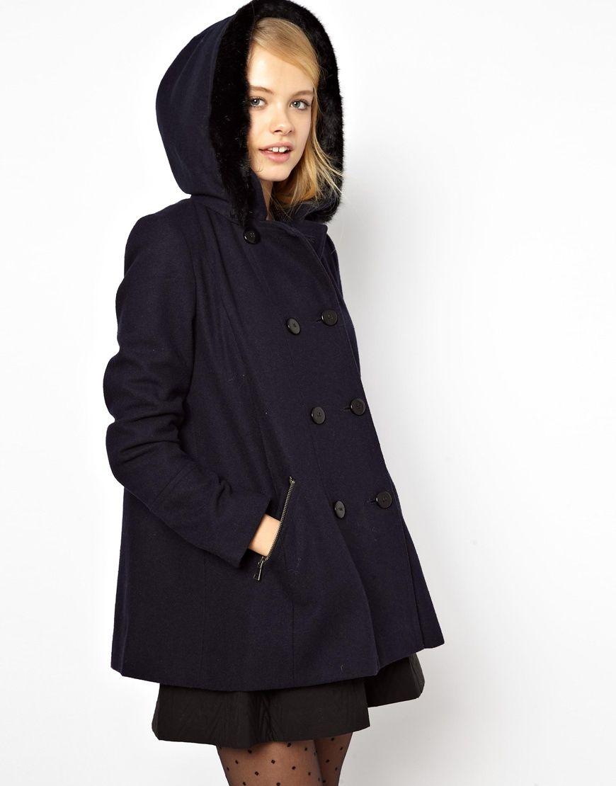 Faux-Fur Trim Hooded A-Line Duffle Coat | style. | Pinterest ...