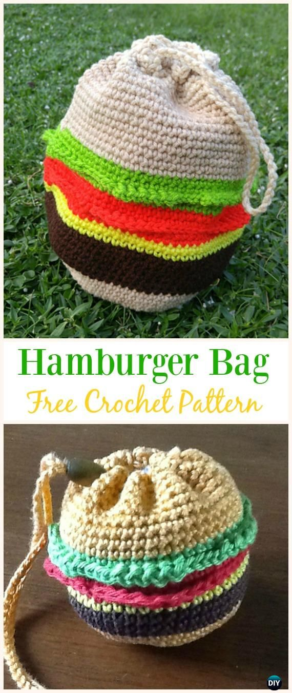 Hamburger Bag Free Crochet Pattern Crochet Drawstring Bags Free