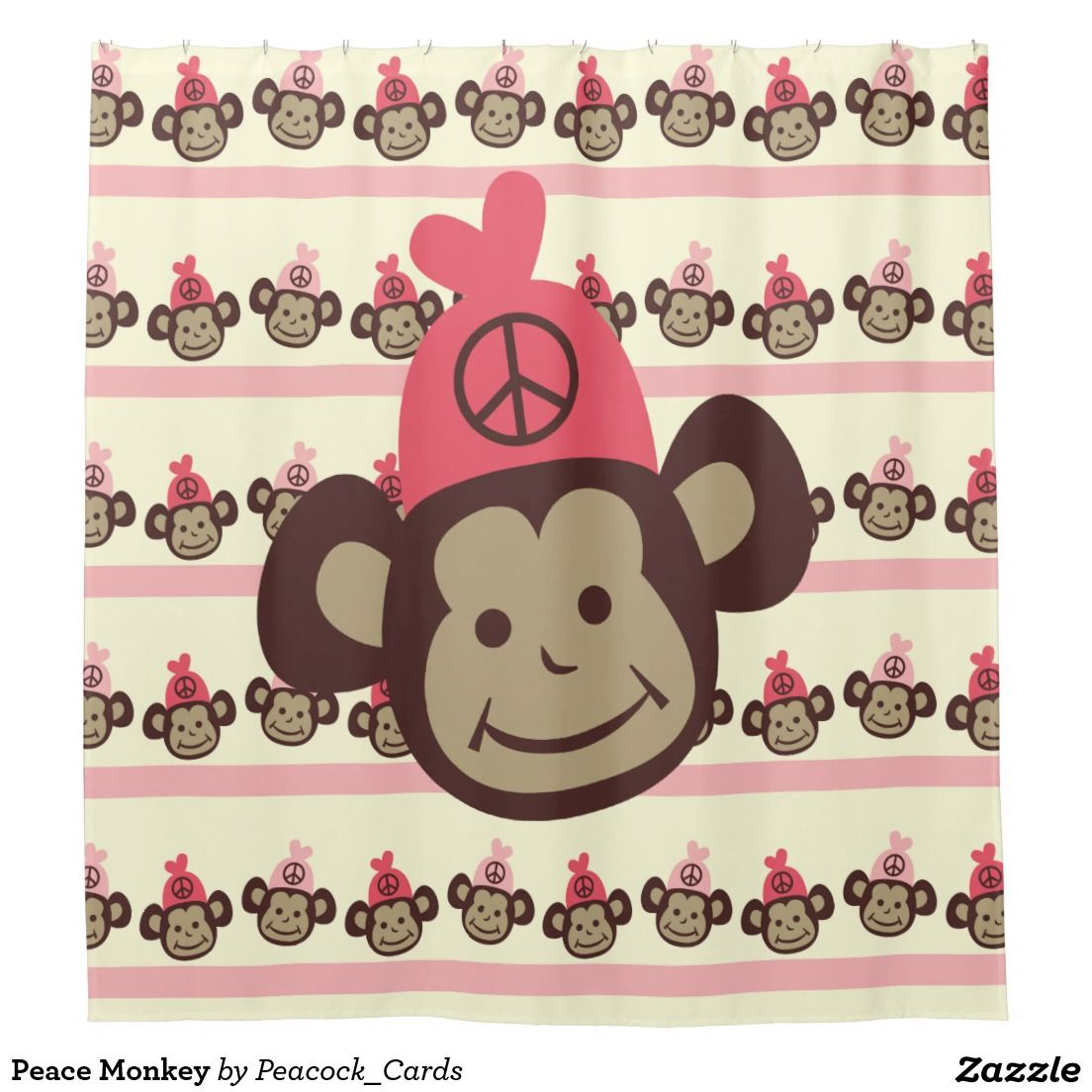 Peace Monkey Kids Shower Curtain