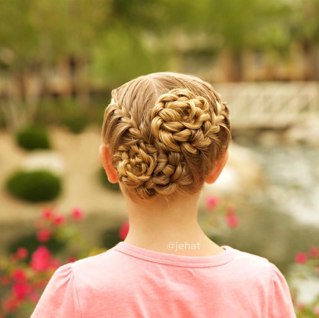 I love these french braided swirled buns so much that we did them