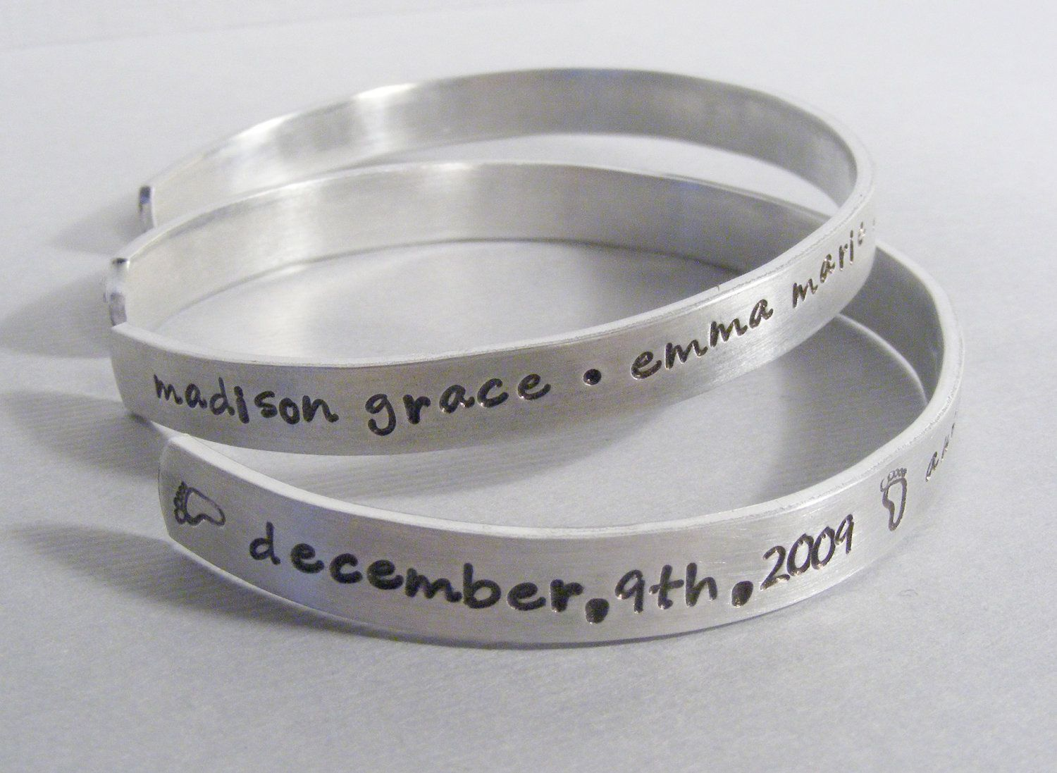 88e2476d12023 Personalized Sterling Silver Hand Stamped Cuff Bracelet , Bangle ...