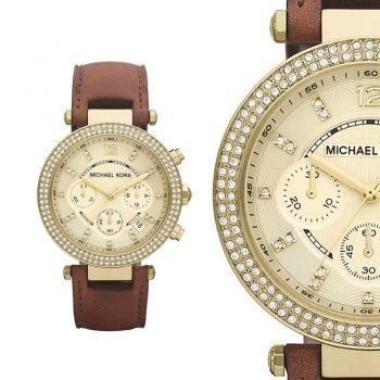 Damenuhren michael kors leder  Michael Kors MK2249 Strass Gold Braun Leder Armband Damenuhr ...