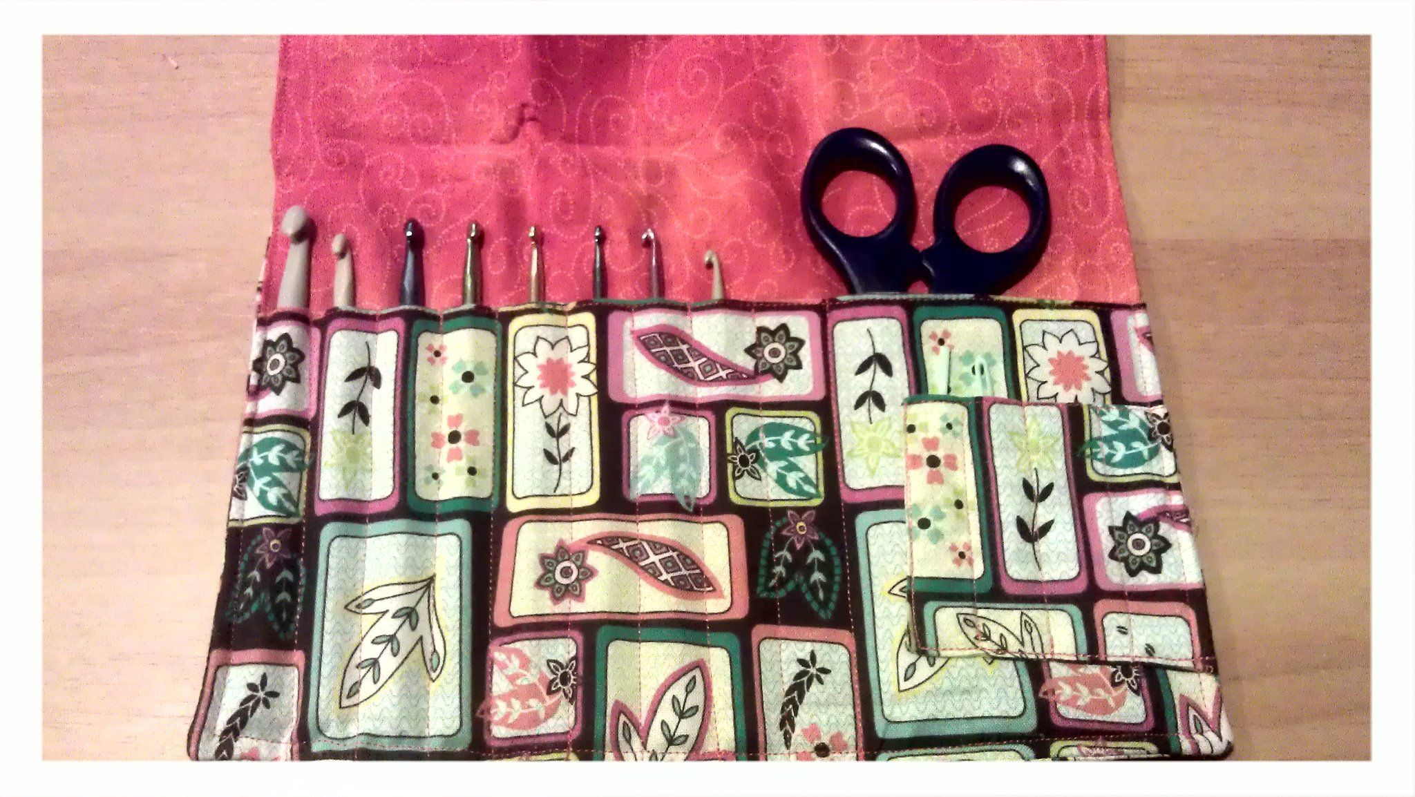 Finished sewing a crochet hook holder :)