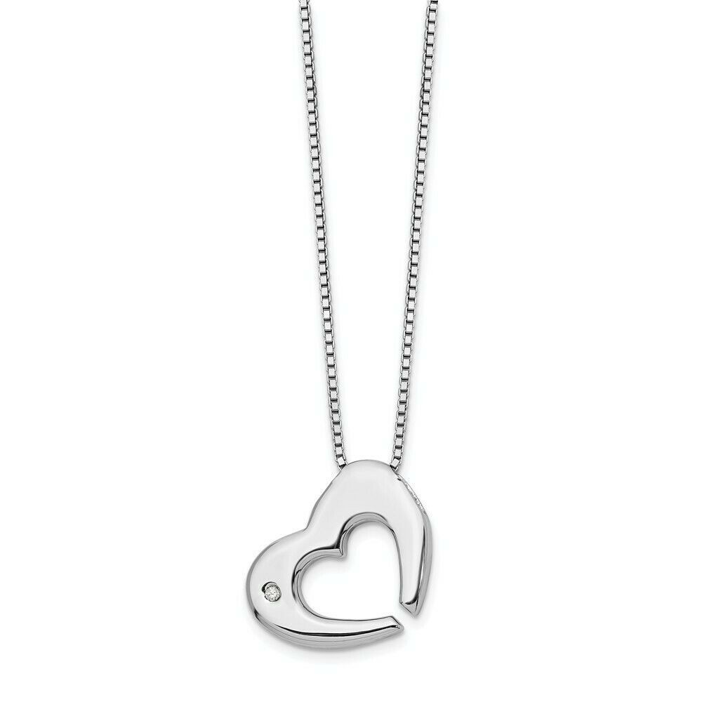 jewellerybox Sterling Silver /& CZ Crystal Heart w Black Rhodium Necklace 20 Inches