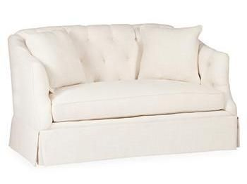 cream tufted settee
