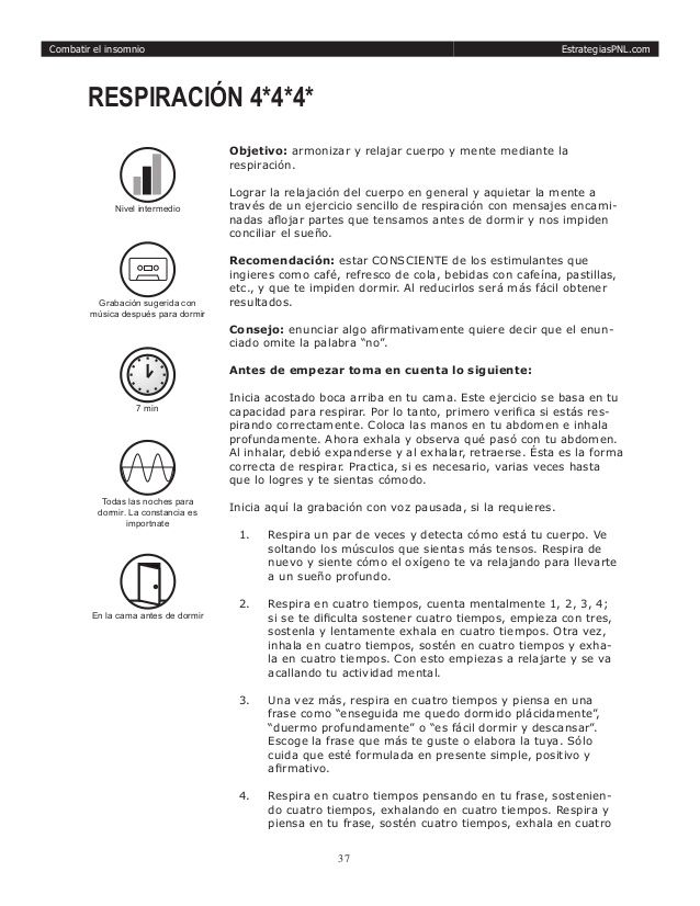 Manual De Tecnicas De Pnl Pnl Combatir El Insomnio Insomnio Und Programación Neurolinguistica
