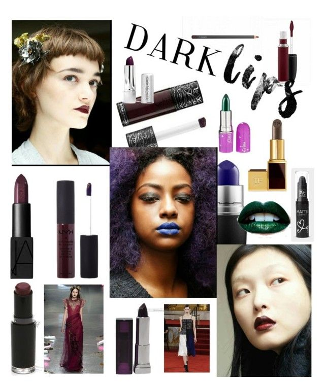 """Dark Lips For Spring!"" by sereneowl ❤ liked on Polyvore featuring beauty, NARS Cosmetics, NYX, Wet n Wild, Lime Crime, Tom Ford, Smashbox, Maybelline, Rodarte and Creatures Of The Wind"