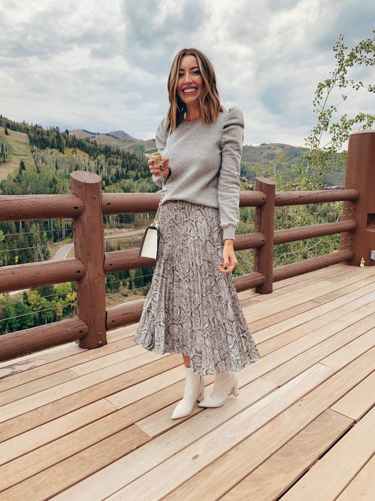 snake print pleated midi skirt outfit white booties gray sweater #booties #snake…