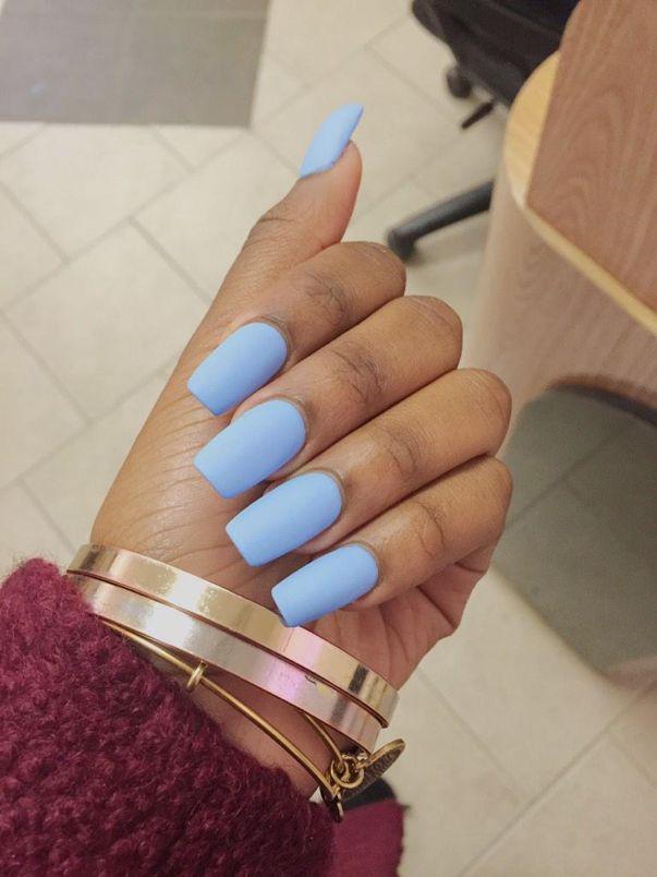 matte pastel blue square nails