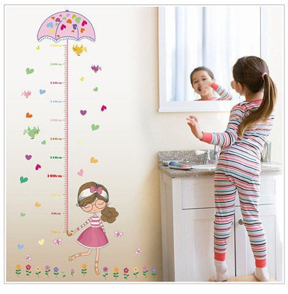 height measurement in centimeters wall sticker decal cute pink girl