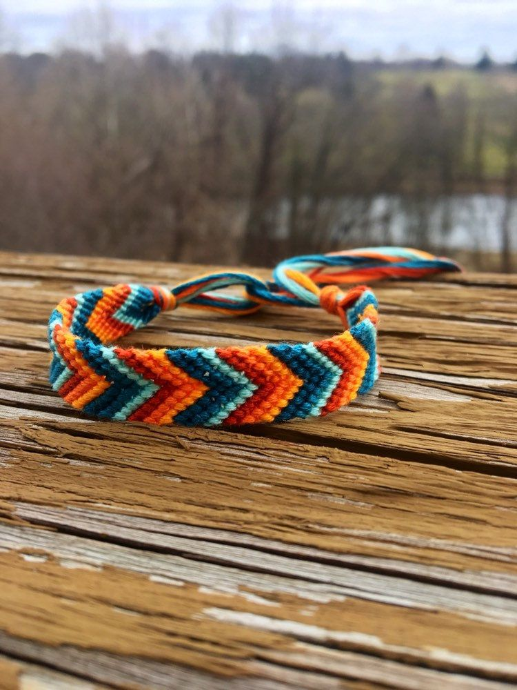 Blue Dark Teal Burnt Orange Thick Chevron Knotted Friendship Bracelet