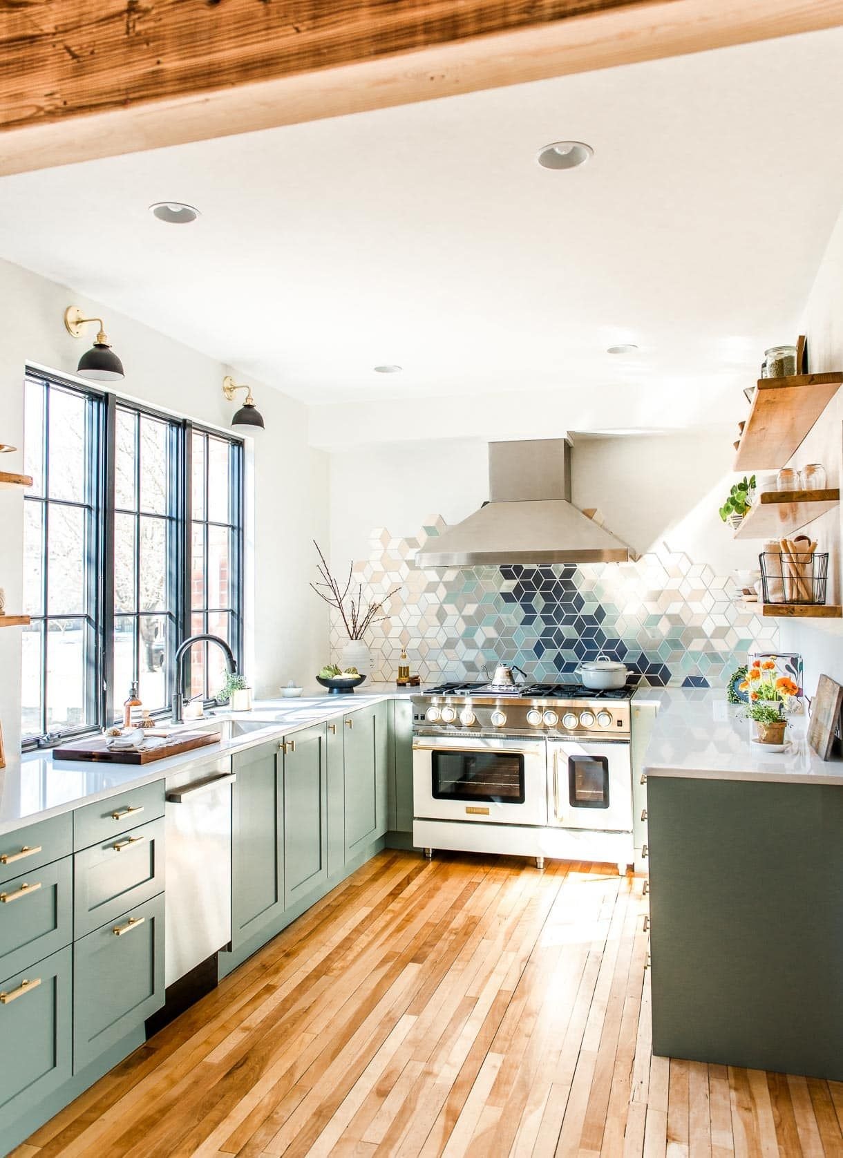 full reveal of our modern u shaped kitchen remodel heartbeet kitchen in 2020 modern kitchen on u kitchen remodel id=61316