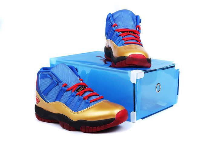 d0d7b8f5380 ... new style nike superman air jordan 11 shoes 2013 men superman printed blue  gold red c5c17