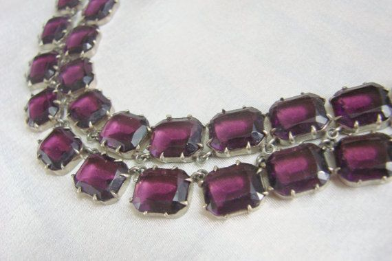 Antique Art Deco Sterling Emerald Cut Amethyst Glass by JoysShop