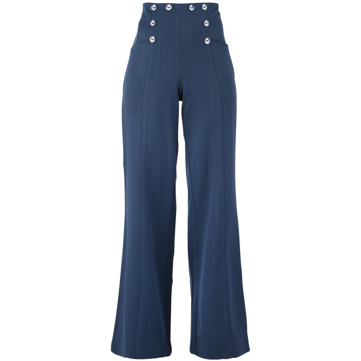 965fa181 Sailor bukser fra Dancing Days - høj talje - sømands-look - lynlås i siden  - 2 lommer - dekorative knapper