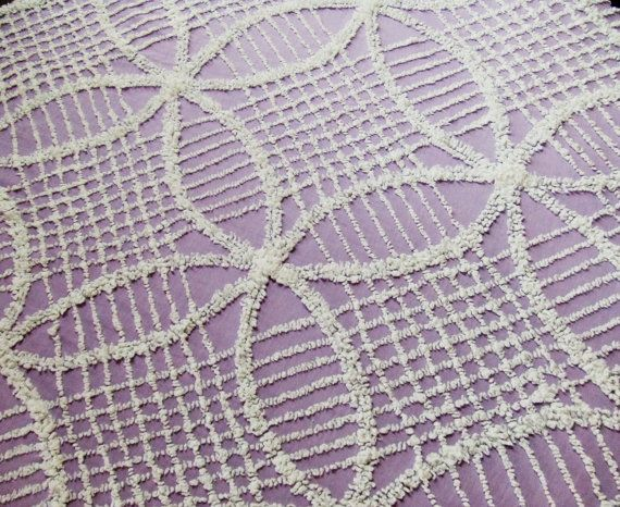 Purple and White Wedding Ring Chenille Bedspread by LinensandThings